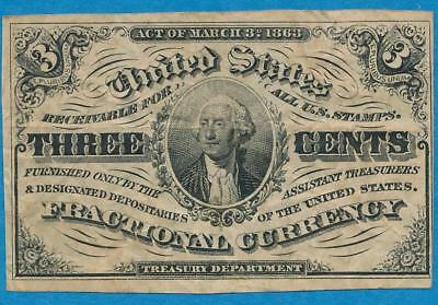 3 Cent Fr.1226 Light Background Type, Third Issue Choice Vf Fractional Currency