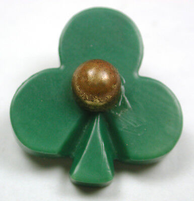 """BB Vintage Celluloid Button 3 Leaf Clover Realistic w/ Brass OME - 1"""""""