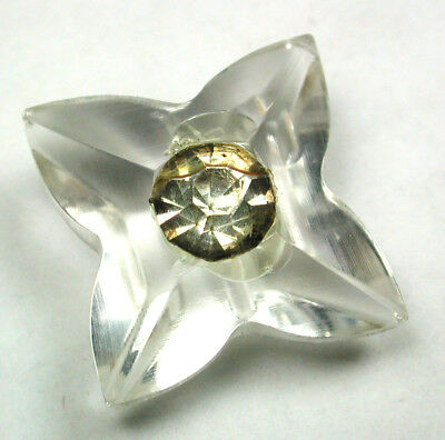 """BB Vintage Lucite Button Flower Realistic w/ Paste OME - 1"""""""