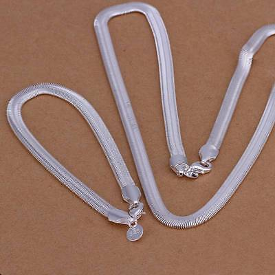 New 925Sterling Solid Silver 6MM Snake Chain Bracelet Necklace Jewelry Sets S084