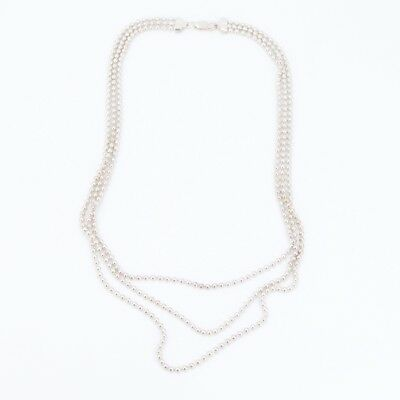 """Sterling Silver - 2mm Ball Bead Chain Link 19.5"""" Necklace - 39.5g"""