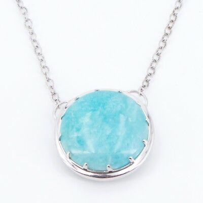 """Sterling Silver - Amazonite Pendant 19"""" Chain Link Necklace - 21g"""