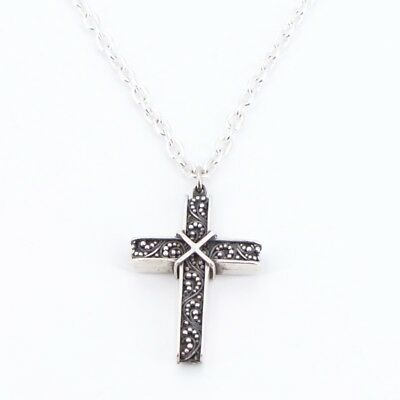 """Sterling Silver - INDIA Scroll Cross Pendant 19.75"""" Chain Link Necklace - 25g"""