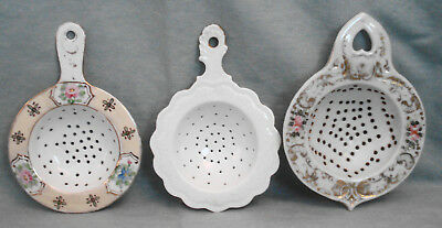 (3) Antique/Vintage Porcelain Ceramic Hand Painted Tea Strainers Flowers Gold