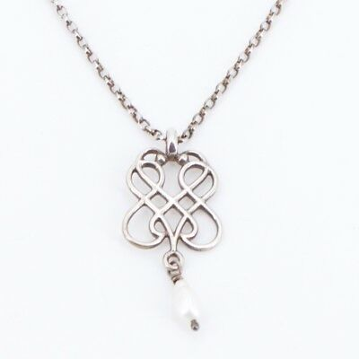 """Sterling Silver - Signed Intertwined Dangle Pearl Pendant 18"""" Necklace - 4g"""