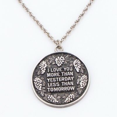 """VTG Sterling Silver - Love Quote Medal Pendant 19.5"""" Chain Link Necklace - 14g"""