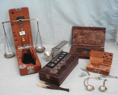 Cased Lot of Antique Portable Gold Silver Pharmaceutical Scales & Weights