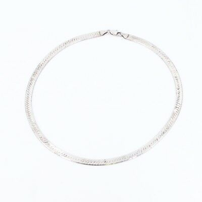 """Sterling Silver - ITALY 6mm Herringbone Chain Link 18.5"""" Necklace - 21g"""