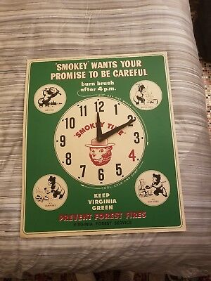 Vintage Smokey The Bear Cardboard Clock Advertisement