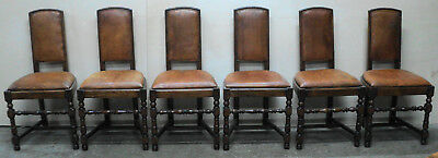 Set of 6 Antique French Country Farm Leather Dining Chairs
