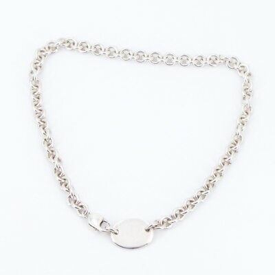 """Sterling Silver - Solid Oval ID Tag Chain Link 16"""" Necklace - 54.5g"""