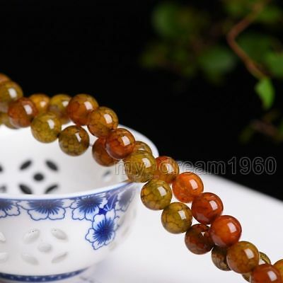10mm Natural Yellow Dragon Veins Agate Onyx Gemstone Round Loose Beads 15'' AAA