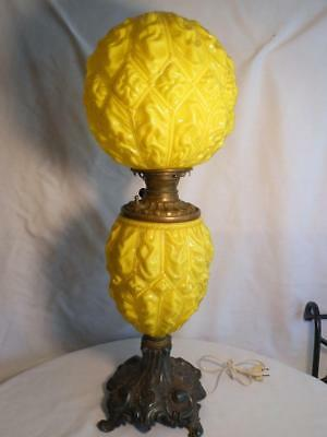 Beautiful Antique Pittsburgh Lamp Co Yellow Cased Glass Lamp Scarce Oil Electric