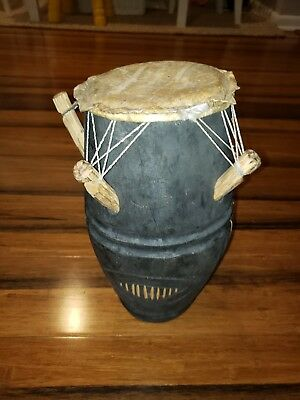 Antique Vtg PRIMITIVE HAND MADE WOODEN BONGO DRUM African native American tribe