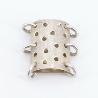 VTG Sterling Silver - Abstract Polka Dot Jump Ring Curved Pendant - 3.8g
