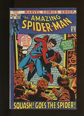 Amazing Spider-Man 105 FN+ 6.5 * 1 Book * 1972,Marvel! Squash Goes the Spider!
