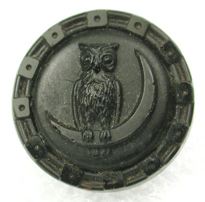"""Antique Black Glass Button Owl Perched on Crescent Moon - 9/16"""""""