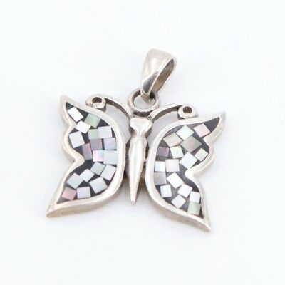 VTG Sterling Silver - Mother of Pearl Inlay Butterfly Pendant - 5.3g