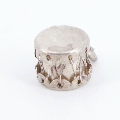 VTG Sterling Silver - Stiched Rawhide Drum Charm Pendant - 1.9g