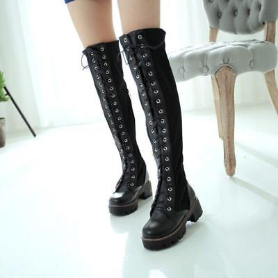 Fashion Boot Punk Women's Block Heel Lace Up Over Knee Thigh High Riding Shoes