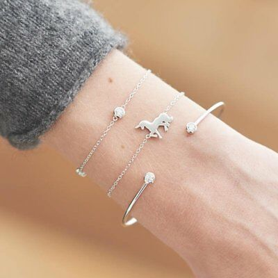3Pcs/set Bracelet Cuff Women Gold Silver Chain Crystal Horse Open Bangle Gifts