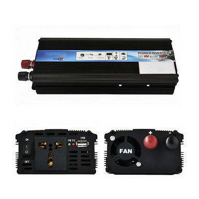500/1200/2000W Car Power Inverter Pure Sine Wave 12V DC to AC 110/220V Converter