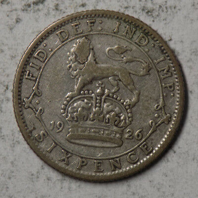Great Britain 1926 6 Pence Silver Coin