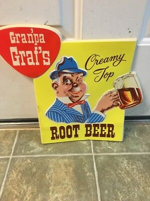 Rare Gran'pa Graf's Root Beer Advertising Sign