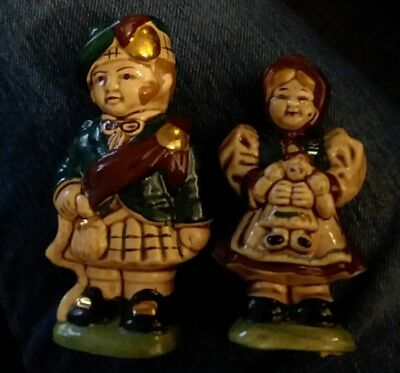Vintage Scottish Salt and Pepper Shakers man and girl