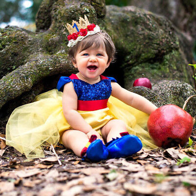 Baby Girl Snow White Costume Tutu Princess Romper Fancy Dress Up Bodysuit Outfit