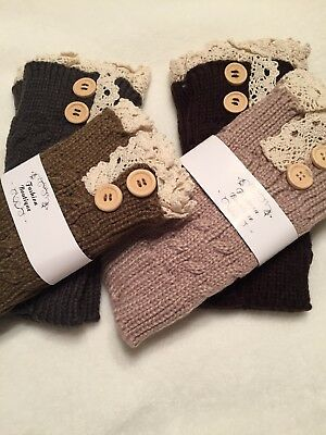 Ladies Button Crocket/Knit Boot Sock Topper Cuffs (pack of 4)