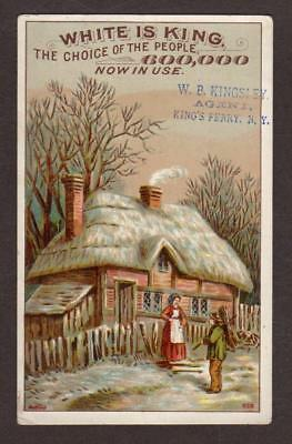 Vintage Victorian Advertising Trade Card White Is King (Sewing Machine)