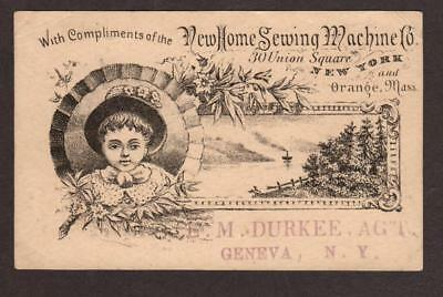 Vintage Victorian Advertising Trade Card New Home Sewing Machine Company