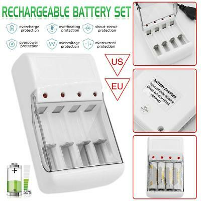 4Pcs AA 3000mAh Li-ion Rechargeable Battery+ 1PC Four Slot Charger US/EU plug