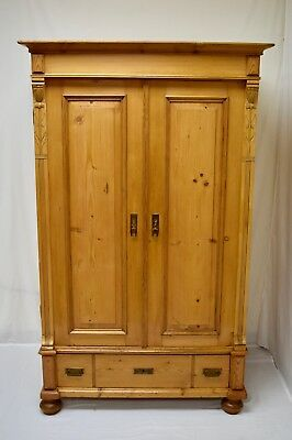 Small Pine Two Door Armoire with Adjustable Shelves