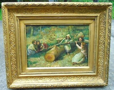 fine old o/b pre-raphaelite painting children playing in woods signed S Harris