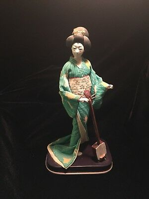 """Beautiful Vintage Japanese Doll - Geisha - Tapestry Robes 10"""" Turquoise"""