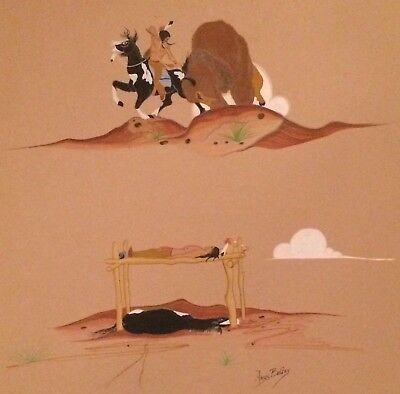 Original gouache painting by Navajo artist, Amos Begay; Native American subject