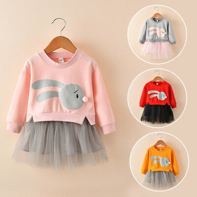 Lively Kids Baby Girl Cartoon Bunny Princess Patchwork Sweatshirt Tulle Dress