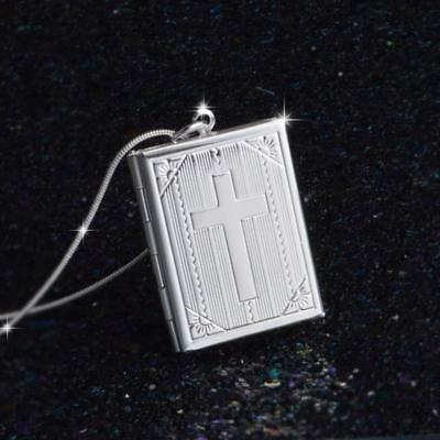 1pc Gothic Openable Box Photo Frame Cross Pendant Charm Necklace Accessories JA
