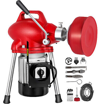 250W Electric Drain Pipe Cleaning Machine 4.5mx9mm 10mx16mm 2.5mx15mm Spirals