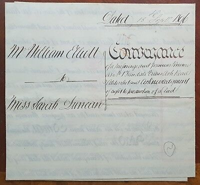 1896 Vellum Indenture Elliott to Duncan for Ferndale Villas, Ash Road, Aldershot