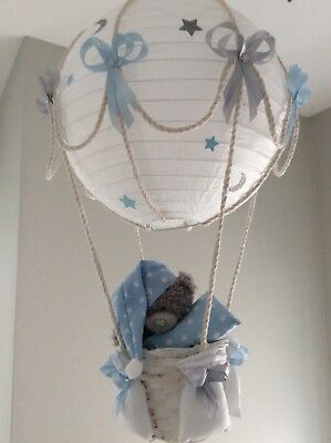 Starry night hot air balloon nursery lightshade blue and silver grey