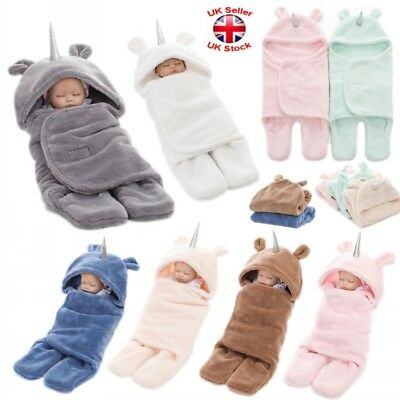 Uk Baby Hooded Swaddle Wrap Newborn Infant Bedding Blanket Soft Sleeping Bag Hot