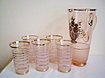 Vintage Art Deco Water/lemonade Set X 6 Pcs. Frosted Glass  Pick Up Only 3155