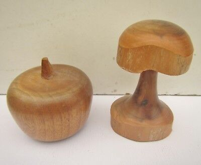 Vintage Wooden Mushroom & Apple Ornaments