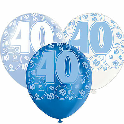 6 Blue Sparkle Happy 40th Birthday 12 Pearlized Printed Latex Balloons