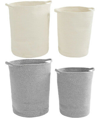 2 x Woven Cotton Rope Laundry Baskets Foldable Hampers Bedroom Bathroom Storage