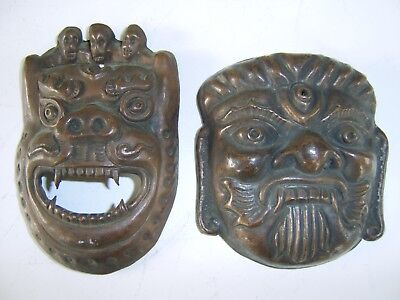 Interesting Pair Of Old Antique Tibetan Copper Bronze Mask