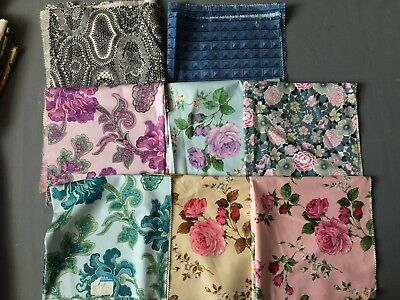 """8 Vintage  Osman Cotton Fabric Floral Samples 22"""" x21"""" Crafts cushions covers"""